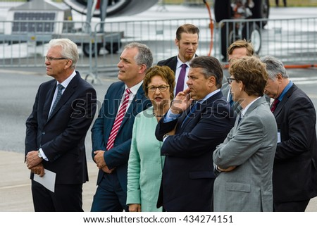 BERLIN, GERMANY - JUNI 01, 2016: Minister for Economic Affairs and Energy Sigmar Gabriel and accompanying persons opened Exhibition ILA Berlin Air Show.