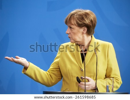 BERLIN, GERMANY - Mar. 16, 2015: Chancellor of the Federal Republic of Germany Angela Merkel during a joint briefing with President of Ukraine Petro Poroshenko in Berlin - stock photo