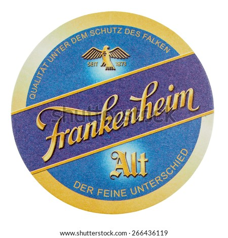 BERLIN, GERMANY - MARCH 15, 2015: Beermat of German beer Frankenheim Alt isolated over white background