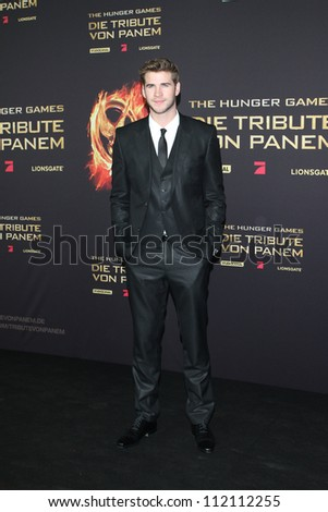 BERLIN, GERMANY - MARCH 16: Liam Hemsworth attends the Germany premiere of 'The Hunger Games' at Cinestar on March 16, 2012 in Berlin - stock photo