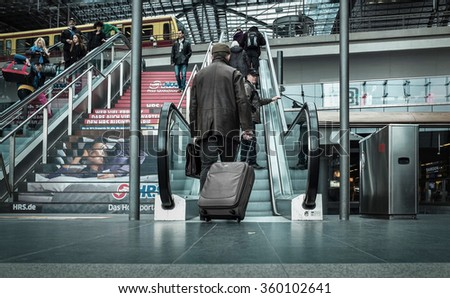 BERLIN, Germany - MARCH 28, 2015: Main train stantion in Berlin -  Hauptbahnhof is one of modern stantion in Europe. - stock photo