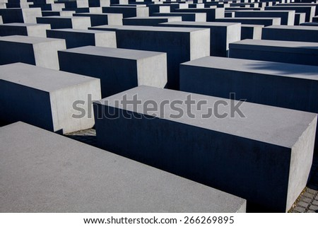BERLIN, GERMANY - MARCH 22: Memorial to the Murdered Jews of Europe in Berlin on March 22, 2015. Its a memorial in Berlin to the Jewish victims of the Holocaust. - stock photo
