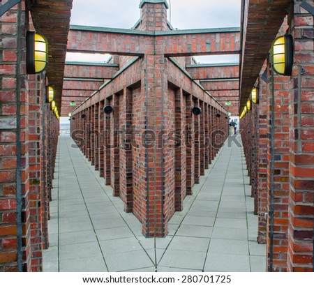 BERLIN, GERMANY, MARCH 12, 2015: symmetrical panorama platform at the top of skyscraper on potzdamer platz in berlin. - stock photo