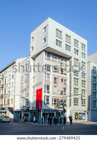 BERLIN, GERMANY, MARCH 12, 2015: view of the haus am checkpoint charlie museum in berlin. - stock photo