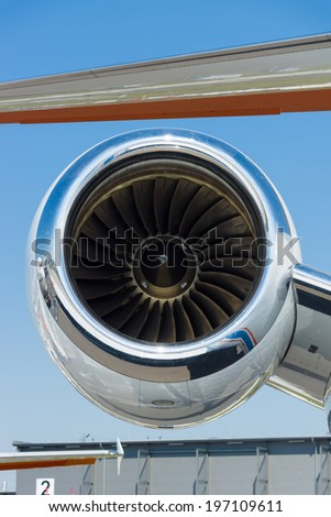BERLIN, GERMANY - MAY 22, 2014: A turbojet engine Pratt & Whitney Canada PW535E of a light business jet Embraer EMB-505 Phenom 300. Exhibition ILA Berlin Air Show 2014