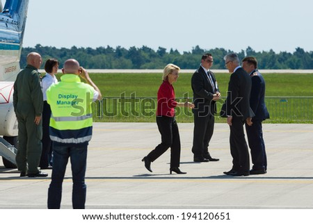 BERLIN, GERMANY - MAY 21, 2014: Arrival of the Federal Minister of Defence of Germany, Ursula von der Leyen at the exhibition ILA Berlin Air Show 2014