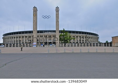 BERLIN-GERMANY MAY 24: Berlin's Olympic Stadium was originally built for the 1936 Summer Olympics in Germany. It hosted the 2006 World Cup Final, it has a capacity of 74000. Pictured on May 24th 2010 - stock photo