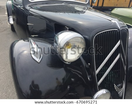 Berlin, Germany - May 13, 2017: black Citroen vintage car. Citroen is a major French automobile manufacturer, part of the PSA Peugeot Citroën group since 1976. It was founded in 1919