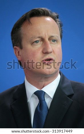 BERLIN, GERMANY - MAY 29, 2015: British Prime Minister David Cameron at a press conference after a meeting with the German Chancellor in the Federal Chancellery in Berlin. - stock photo