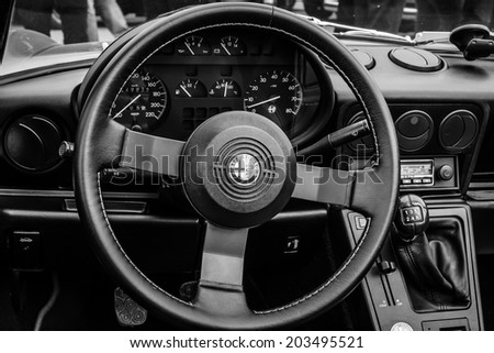 BERLIN, GERMANY - MAY 17, 2014: Cab of the roadster Alfa Romeo Spider (Third generation). Black and white. 27th Oldtimer Day Berlin - Brandenburg  - stock photo