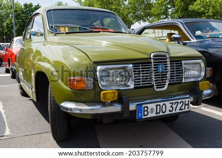 BERLIN, GERMANY - MAY 17, 2014: Compact car Saab 96. 27th Oldtimer Day Berlin - Brandenburg - stock photo