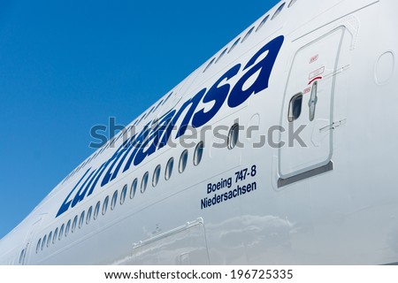 BERLIN, GERMANY - MAY 22, 2014: Detail of the widebody jet airliner Boeing 747-8. Lufthansa. Exhibition ILA Berlin Air Show 2014