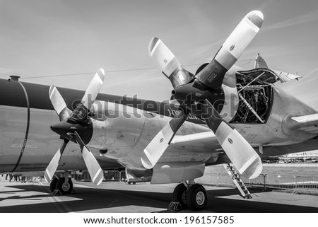 BERLIN, GERMANY - MAY 21, 2014: Engines Allison T56-A-14 of the turboprop anti-submarine aircraft Lockheed P-3C Orion. German Navy. Black and White. Exhibition ILA Berlin Air Show 2014