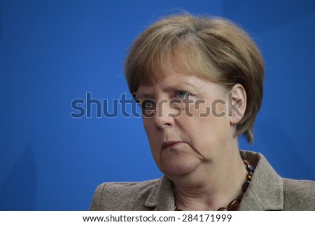 BERLIN, GERMANY - MAY 29, 2015: German Chancellor Angela Merkel at a press conference after a meeting with the British Prime Minister in the Chanclery in Berlin. - stock photo