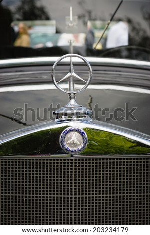 BERLIN, GERMANY - MAY 17, 2014: Hood ornament of the luxury car Mercedes-Benz Typ 290 (W18), 1933. Close up. 27th Oldtimer Day Berlin - Brandenburg  - stock photo