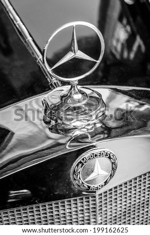 BERLIN, GERMANY - MAY 17, 2014: Hood ornament of the mid-size luxury car Mercedes-Benz W21. Close up. Black and white. 27th Oldtimer Day Berlin - Brandenburg  - stock photo