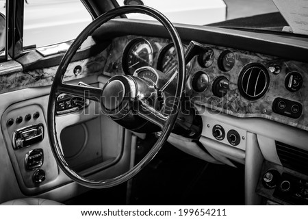 BERLIN, GERMANY - MAY 17, 2014: Interior of the driver's seat of the car Rolls-Royce Corniche I Cabriolet. Black and white. 27th Oldtimer Day Berlin - Brandenburg