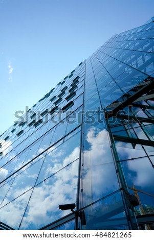BERLIN, GERMANY - MAY 13, 2016: Office building with glass facade on shopping mall Kranzler Eck in Berlin-Charlottenburg