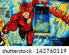 BERLIN GERMANY MAY 22: Street art mural of Flash supehero by unknow artist on may 22 2010 in Berlin Germany. - stock