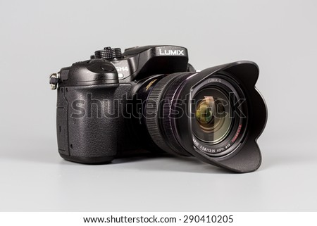Berlin, Germany - May 15, 2014 : studio shot of 4k camera Panasonic GH4. - stock photo
