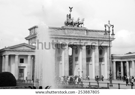 BERLIN, GERMANY-MAY 19: The Brandenburg gate on May 19, 2010 in Berlin, Germany The gate was commissioned by King Frederick William II of Prussia as a sign of peace. - stock photo