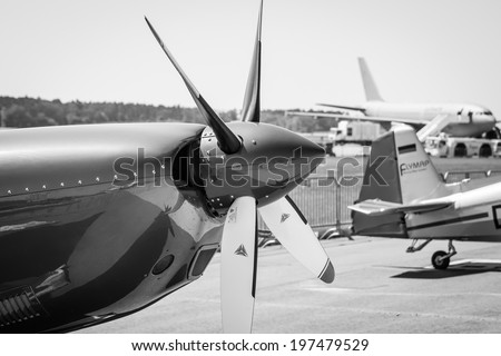 BERLIN, GERMANY - MAY 22, 2014: The engine turboprop light sport aircraft, closeup. Black and white. Exhibition ILA Berlin Air Show 2014