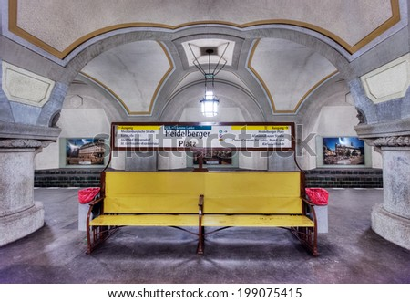 BERLIN, GERMANY - MAY 7 2014: The ornate hundred year-old Fehrbelliner Platz u-bahn (underground/subway station) on line 3. Taken on May 7, 2014 - stock photo