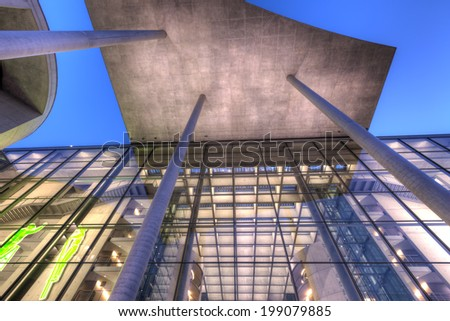 BERLIN, GERMANY - May 6 2014: The Paul-Loebe-Haus, one of the major government buildings in Berlin, taken on May 6. - stock photo