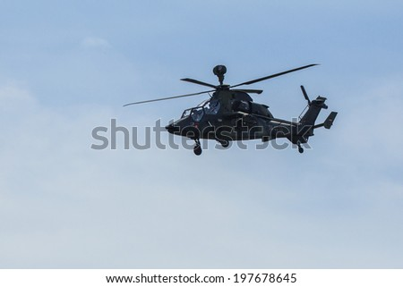 BERLIN, GERMANY - MAY 21, 2014: Tiger Multi-Role Combat Helicopter, demonstration at International Aerospace Exhibition ILA Berlin Air Show.