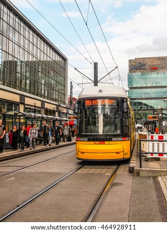 BERLIN, GERMANY - MAY 08, 2014: Trams are part of the city public transport in addition to the Ubahn subway and surface trains and buses (HDR)