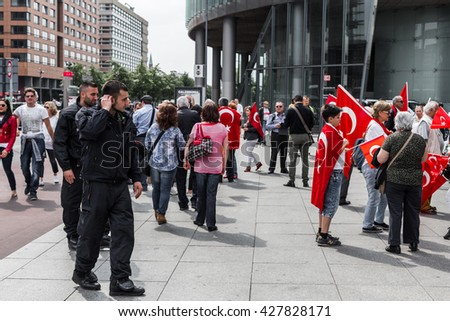 Berlin, Germany - May 28, 2016: Turkish groups protest vote on Armenian genocide resolution. On Potsdamer platz