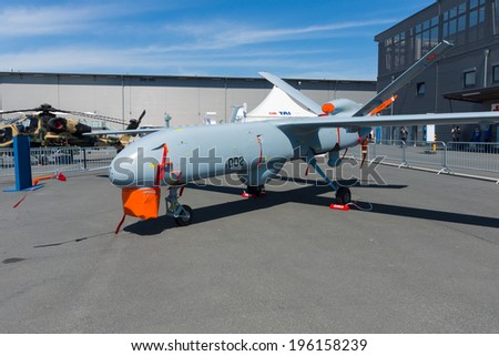 BERLIN, GERMANY - MAY 21, 2014: Turkish UAV ANKA Multi-Role ISR System. Turkish Air Force. Exhibition ILA Berlin Air Show 2014