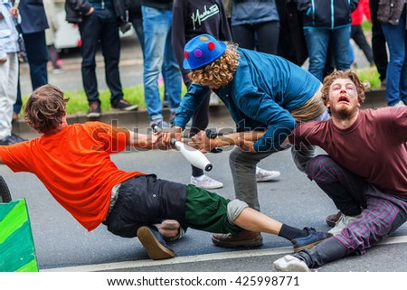 Berlin, Germany - May 15, 2016: unidentified people at the Carnival of Cultures, an annually festival in Berlin. The processions, dance and music events celebrate peace, tolerance and multiculturalism