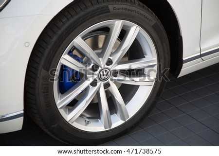 Berlin, Germany - May 20, 2016: Volkswagen logo on a tyre. Volkswagen Group is a German automobile manufacturing group based in Wolfsburg, Germany, and founded in 1937