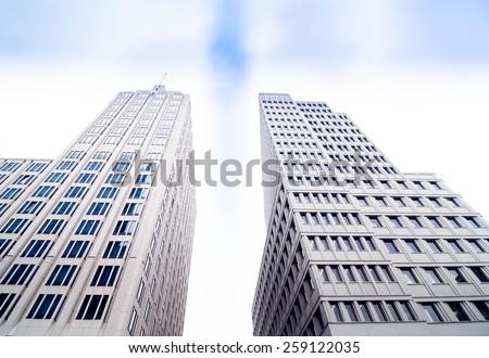 BERLIN, GERMANY - NOV 12, 2014: Famous Potsdamer platz - Skyscrapers in Potsdamer Platz, Berlin, Europe. - stock photo