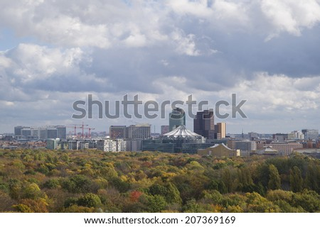 BERLIN, GERMANY - NOV 5: The view to Brandenburg Gate in Autumn from The Victory Column in Tiergarten, Berlin, Germany on November 5 2013.