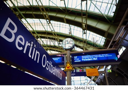 Berlin, Germany - November 16, 2015: Berlin East railway station is a mainline railway station in Berlin.