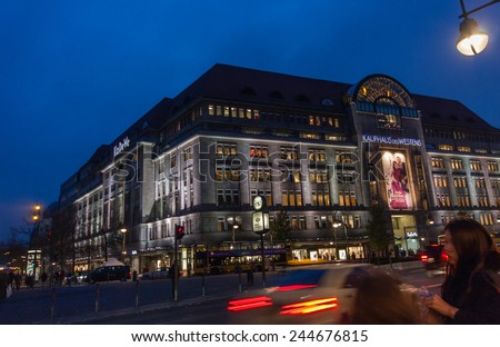 BERLIN, GERMANY - NOVEMBER 12, 2014: Buyers aim to Kaufhaus Des Westens department store in Berlin, Germany on November 12, 2014. KaDeWe is the second-largest department store in Europe.  - stock photo