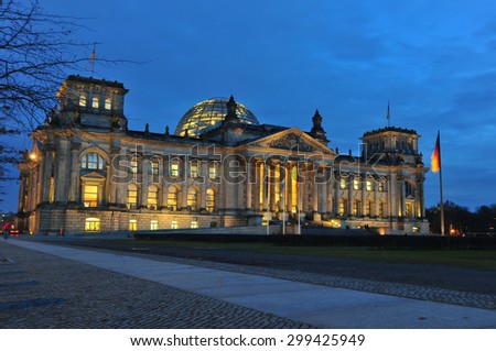 Berlin, Germany - November 10, 2010: Reichstag, the seat of German government at dusk.