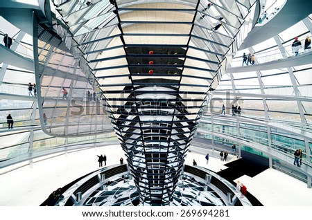 BERLIN, GERMANY - November 15: The Cupola on top of the Reichstag building in Berlin, Interior view - Germany