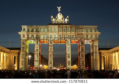BERLIN, GERMANY - OCTOBER 20: artistic illumination of the Brandenburg Gate,, during FESTIVAL OF LIGHTS 2012 in Berlin Mitte, Germany, Europe oct 20 2012