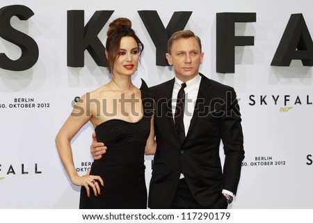 "BERLIN, GERMANY - OCTOBER 30: Berenice Marlohe and Daniel Craig attend the Germany premiere of James Bond 007 movie ""Skyfall"" at the Theater am Potsdamer Platz on October 30, 2012 in Berlin, Germany - stock photo"