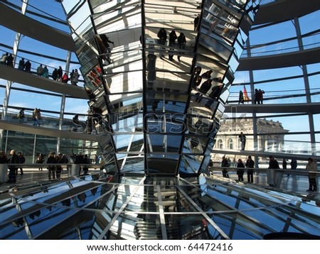 BERLIN, GERMANY - OCTOBER 23: People visit the Reichstag dome at the German parliament October 23, 2010 in Berlin,  Germany