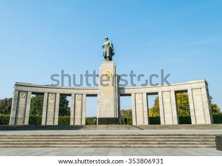 Berlin, Germany - October 5, 2015: Soviet War Memorial in the Tiergarten, Berlin, Germany. It is a memorial erected by the Soviet Union to commemorate its war dead during the Battle of Berlin in 1945. - stock photo