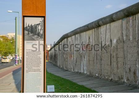 Berlin, Germany, October 6: The Berlin wall on October 6, 2014 in Berlin, Germany - stock photo