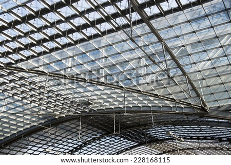 BERLIN, GERMANY - 22 october 2013: The roof of Berlin Hauptbahnhof