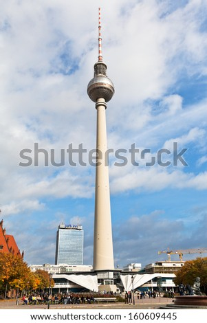 BERLIN, GERMANY - OCTOBER 17: view of Fernsehturm TV Tower in Berlin, Germany on October17, 2013. The Tower height is 368 meters, it is the tallest structure in Germany