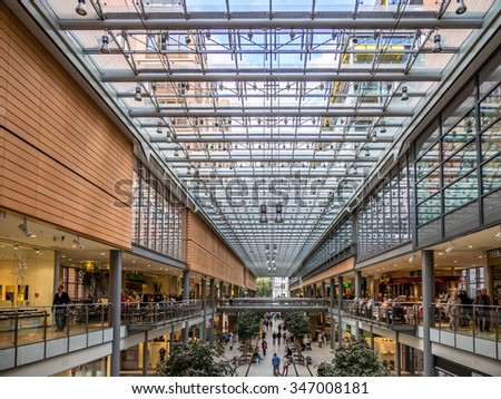 BERLIN, GERMANY - SEP 17: The Potsdamer Platz Arkaden shopping center in Berlin, Germany on September 17, 2013. Berlin is the capital and largest city in Germany.