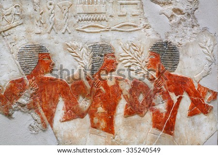 BERLIN, GERMANY - SEPT 2: Nubian mercenaries of ancient army of Egypt, in Egyptian Museum on September 2, 2015. Egyptian collection of Neues Museum contains artefacts dating  4000BC -  1340BC - stock photo