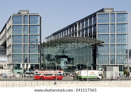 Berlin, Germany - September 24, 2007: Central train station of Berlin with the main entrance to the government quarter.